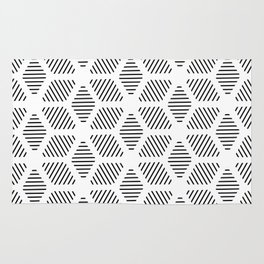 Geometric Line Lines Diamond Shape Tribal Ethnic Pattern Simple Simplistic Minimal Black and White Rug