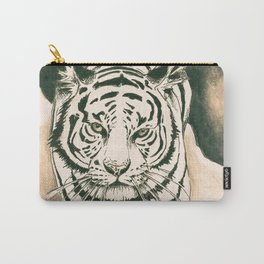 White Tiger Sepia Litograph Style Carry-All Pouch