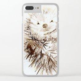 Hedgehog Cuddles Clear iPhone Case