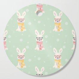 White rabbit Christmas pattern 001 Cutting Board