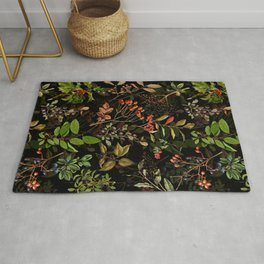 Vintage & Shabby Chic - vintage botanical wildflowers and berries on black Rug