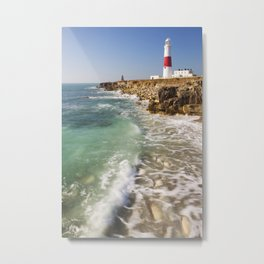 Portland Bill Lighthouse in Dorset, England on a sunny day Metal Print