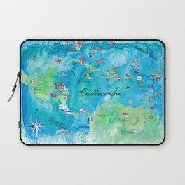 Caribbean Cruise Travel Poster Map Antilles West Indies Cuba Florida Laptop Sleeve