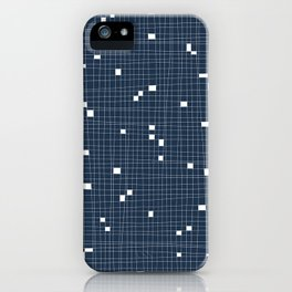 Blue and White Grid - Missing Pieces iPhone Case