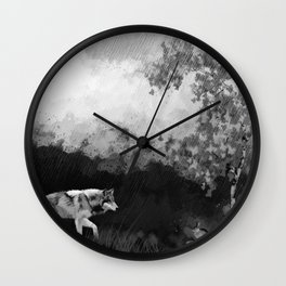 Wolf Walking Watercolor (Black and White) Wall Clock