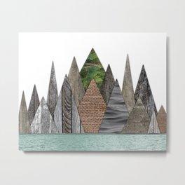 Textured Mountain Range in Minty Waters Metal Print