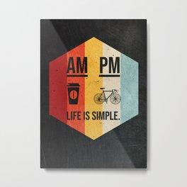 AM Coffee PM Cycling Retro Metal Print