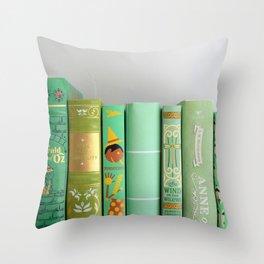 shelfie in green Throw Pillow
