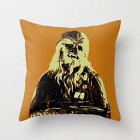 chewbacca Throw Pillows featuring Chewbacca by iankingart