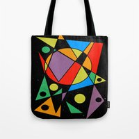 kandinsky Tote Bags featuring Abstract #130 by Rockett Graphics
