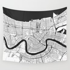 New Orleans Map Gray Wall Tapestry
