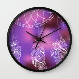 violet ethnic pattern with feathers Wall Clock