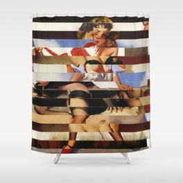Glitch Pin-Up Redux: Daisy Shower Curtain