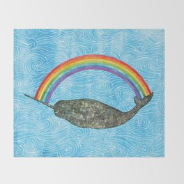 Narwhale Rainbow Blue Ocean Waves Throw Blanket