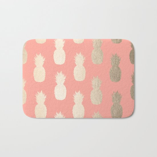 Gold Pineapples on Coral Pink Bath Mat