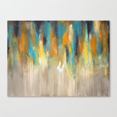 Navy and Gold Drips Canvas Print