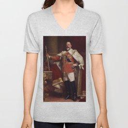 King Edward VII in coronation robes Unisex V-Neck
