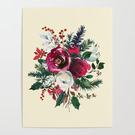 Christmas Winter Floral Bouquet No Text Poster