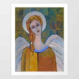 Beautiful Modern Angel Painting with Wings Print on Canvas Gift Contemporary Artwork Art Print