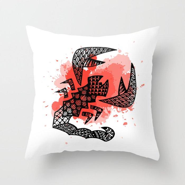 Zodiac Zentangle - Scorpius Throw Pillow