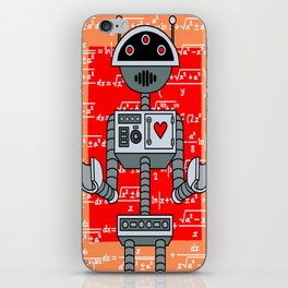 Nerdy Robot Print with math formulas in background iPhone Skin