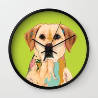 golden retriever Wall Clocks featuring Golden Retriever by eileen tomson