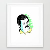ron swanson Framed Art Prints featuring Ron Swanson.  by The Half Guava