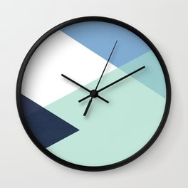 Geometrics - seafoam & blue concrete Wall Clock