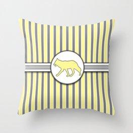 Wolf on Yellow Stripes Pattern Design Throw Pillow
