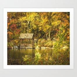 Autumn Lakeside Retreat Art Print