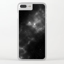 black & white space Clear iPhone Case