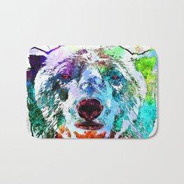 Polar Bear Watercolor Grunge Bath Mat