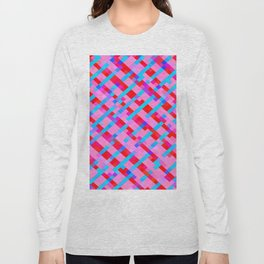 geometric pixel square pattern abstract background in pink blue red Long Sleeve T-shirt