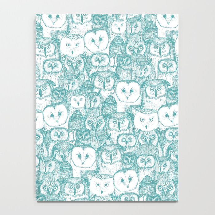 just owls teal blue Notebook
