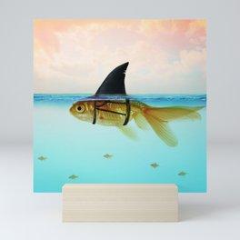 goldfish with a shark fin Mini Art Print