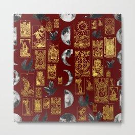 Beautiful Pagan Themed Print - Tarot Cards, Moon phases and ravens Metal Print