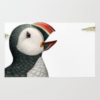 puffin Area & Throw Rugs featuring Atlantic Puffin by Jada Fitch