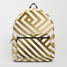 Art Deco Gold and Alabaster White Geometric Pattern Backpack