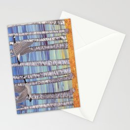 Canada geese, hedgehogs, and autumn birch trees Stationery Cards