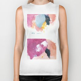 Cotton Candy: a bright, colorful abstract in pinks, blues, yellow, and white Biker Tank