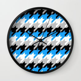 Neon Goth Houndstooth Pattern (Blue) Wall Clock