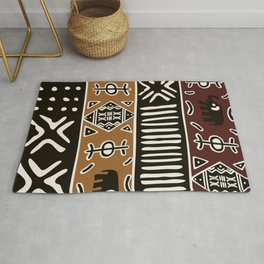 African mud cloth with elephants Rug