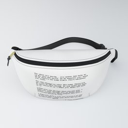 For what it's worth - F Scott Fitzgerald quote Fanny Pack