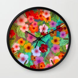 Colorful Hibiscus Wall Clock