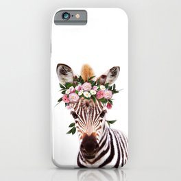Baby Zebra With Flower Crown, Baby Animals Art Print By Synplus iPhone Case