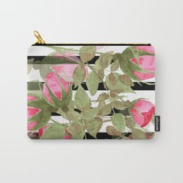 Watercolor . Buds of roses on a striped black and white background Carry-All Pouch