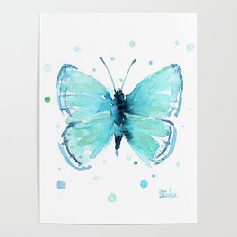Blue Abstract Butterfly Poster