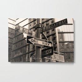 Street sign in New York City, sepia 2 Metal Print