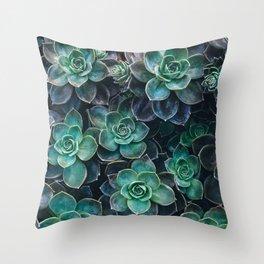 Succulent Blue Green Plants Throw Pillow