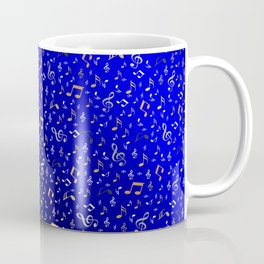 silver,gold,metall music notes in blue Coffee Mug